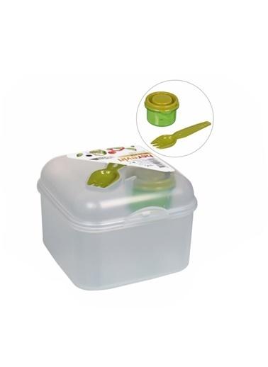 Herevin Çatal ve Sosluklu Kapaklı Salata Kabı Şeffaf Renksiz